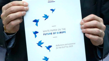 The cover page of the White Paper on the Future of Europe, which will be presented before the European Parliament on Wednesday by the European Commission President Jean-Claude Juncker, is seen in Brussels, Belgium March 1, 2017. REUTERS/Yves Herman