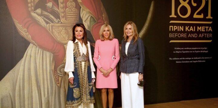 Στο Μουσείο Μπενάκη η Μπριζίτ Μακρόν με τη Μαρέβα και τη Γιάννα